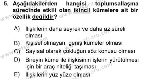 Ev İdaresi Bölümü 3. Yarıyıl Toplumsal Yaşamda Aile Dersi 2016 Yılı Güz Dönemi Dönem Sonu Sınavı 5. Soru
