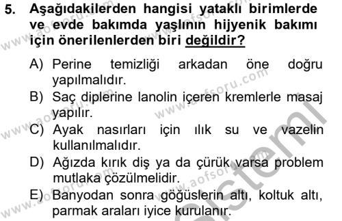 Ev İdaresi Bölümü 4. Yarıyıl Aile Sağlığı Dersi 2013 Yılı Bahar Dönemi Dönem Sonu Sınavı 5. Soru