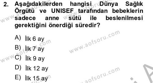 Ev İdaresi Bölümü 4. Yarıyıl Aile Sağlığı Dersi 2014 Yılı Bahar Dönemi Dönem Sonu Sınavı 2. Soru