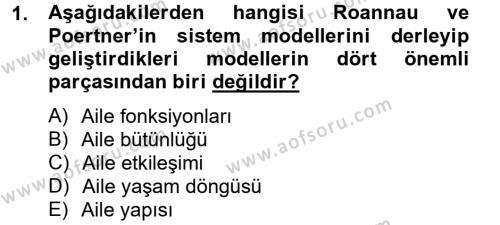 Ev İdaresi Bölümü 4. Yarıyıl Aile Sağlığı Dersi 2014 Yılı Bahar Dönemi Tek Ders Sınavı 1. Soru