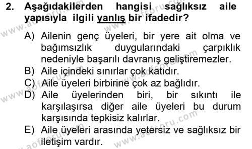 Ev İdaresi Bölümü 4. Yarıyıl Aile Sağlığı Dersi 2014 Yılı Bahar Dönemi Tek Ders Sınavı 2. Soru