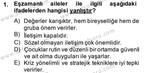 Ev İdaresi Bölümü 4. Yarıyıl Aile Sağlığı Dersi 2015 Yılı Bahar Dönemi Ara Sınavı 1. Soru