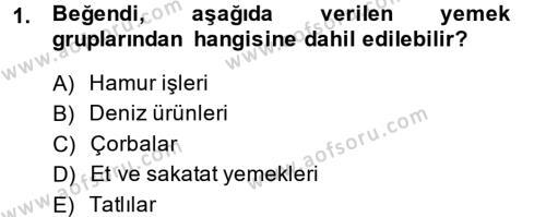 Ev İdaresi Bölümü 3. Yarıyıl Yiyecek Üretim Temelleri Dersi 2014 Yılı Güz Dönemi Ara Sınavı 1. Soru