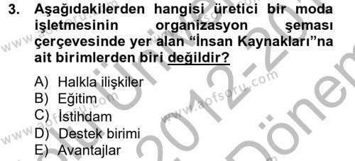 Ev İdaresi Bölümü 4. Yarıyıl Moda Tasarım Dersi 2013 Yılı Bahar Dönemi Dönem Sonu Sınavı 3. Soru