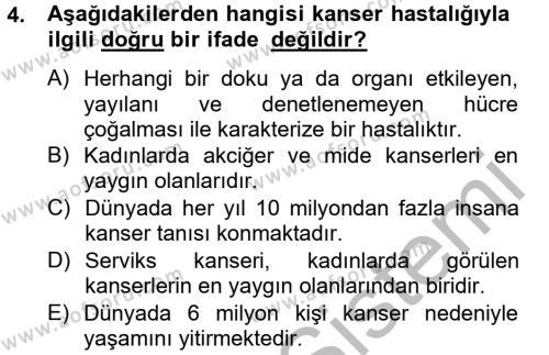 Ev İdaresi Bölümü 4. Yarıyıl Sağlıklı Yaşam Dersi 2013 Yılı Bahar Dönemi Ara Sınavı 4. Soru