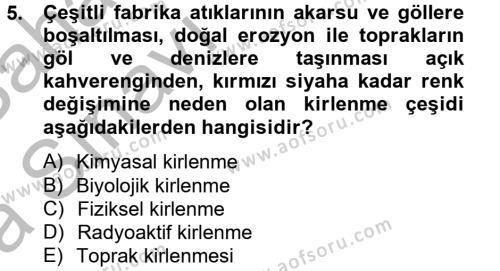 Ev İdaresi Bölümü 4. Yarıyıl Sağlıklı Yaşam Dersi 2013 Yılı Bahar Dönemi Ara Sınavı 5. Soru
