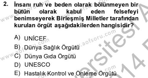 Ev İdaresi Bölümü 4. Yarıyıl Sağlıklı Yaşam Dersi 2014 Yılı Bahar Dönemi Ara Sınavı 2. Soru