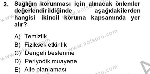 Ev İdaresi Bölümü 4. Yarıyıl Sağlıklı Yaşam Dersi 2015 Yılı Bahar Dönemi Ara Sınavı 2. Soru