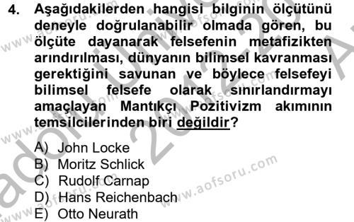 Felsefe Bölümü 5. Yarıyıl Etik Dersi 2013 Yılı Güz Dönemi Ara Sınavı 4. Soru