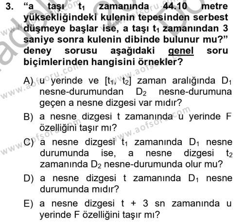 Felsefe Bölümü 5. Yarıyıl Bilim Felsefesi Dersi 2013 Yılı Güz Dönemi Dönem Sonu Sınavı 3. Soru