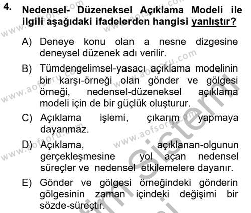 Bilim Felsefesi Dersi 2012 - 2013 Yılı (Final) Dönem Sonu Sınav Soruları 4. Soru
