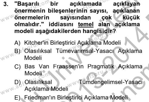 Bilim Felsefesi Dersi 2013 - 2014 Yılı Dönem Sonu Sınavı 3. Soru