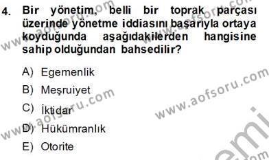 Yurttaşlık ve Çevre Bilgisi Dersi 2013 - 2014 Yılı Ara Sınavı 4. Soru