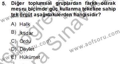 Felsefe Bölümü 3. Yarıyıl Yurttaşlık ve Çevre Bilgisi Dersi 2014 Yılı Güz Dönemi Ara Sınavı 5. Soru