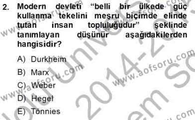 Yurttaşlık ve Çevre Bilgisi Dersi 2014 - 2015 Yılı Dönem Sonu Sınavı 2. Soru