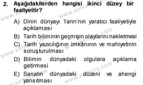 Felsefe Dersi 2013 - 2014 Yılı (Vize) Ara Sınav Soruları 2. Soru