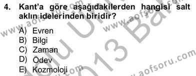 Modern Felsefe 2 Dersi 2012 - 2013 Yılı Ara Sınavı 4. Soru