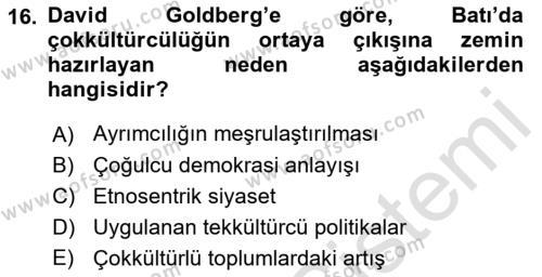 Siyaset Felsefesi 2 Dersi Dönem Sonu Sınavı Deneme Sınav Soruları 16. Soru
