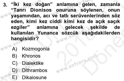 Tarih Felsefesi 1 Dersi 2018 - 2019 Yılı (Final) Dönem Sonu Sınav Soruları 3. Soru