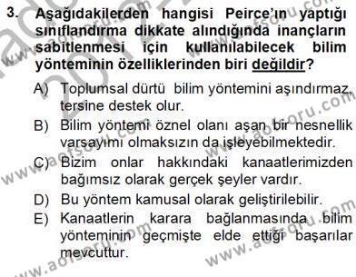 Felsefe Bölümü 7. Yarıyıl Çağdaş Felsefe I Dersi 2013 Yılı Güz Dönemi Ara Sınavı 3. Soru