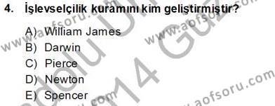 Felsefe Bölümü 7. Yarıyıl Çağdaş Felsefe I Dersi 2014 Yılı Güz Dönemi Ara Sınavı 4. Soru