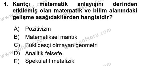 Çağdaş Felsefe 1 Dersi 2016 - 2017 Yılı (Vize) Ara Sınav Soruları 1. Soru
