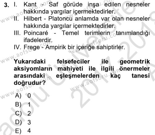 Çağdaş Felsefe 1 Dersi 2017 - 2018 Yılı (Vize) Ara Sınav Soruları 3. Soru