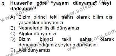Çağdaş Felsefe 2 Dersi 2014 - 2015 Yılı Dönem Sonu Sınavı 3. Soru