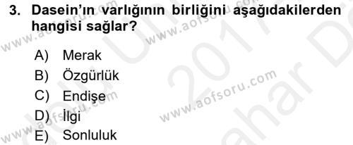 Çağdaş Felsefe 2 Dersi 2017 - 2018 Yılı (Vize) Ara Sınav Soruları 3. Soru