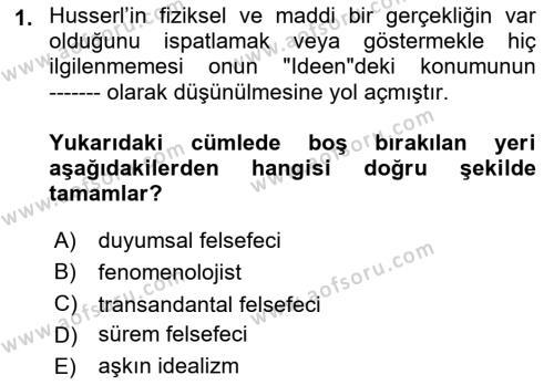 Çağdaş Felsefe 2 Dersi 2018 - 2019 Yılı (Vize) Ara Sınav Soruları 1. Soru
