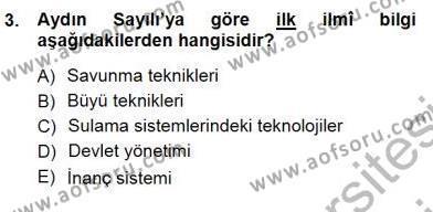 Felsefe Bölümü 7. Yarıyıl Türkiye' de Felsefenin Gelişimi I Dersi 2013 Yılı Güz Dönemi Dönem Sonu Sınavı 3. Soru