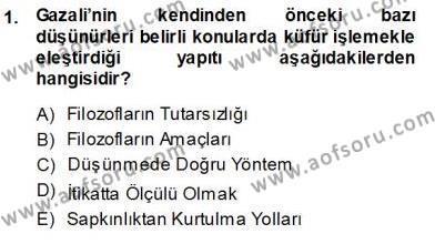Felsefe Bölümü 7. Yarıyıl Türkiye' de Felsefenin Gelişimi I Dersi 2014 Yılı Güz Dönemi Ara Sınavı 1. Soru