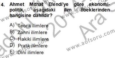 Felsefe Bölümü 7. Yarıyıl Türkiye' de Felsefenin Gelişimi I Dersi 2015 Yılı Güz Dönemi Ara Sınavı 4. Soru