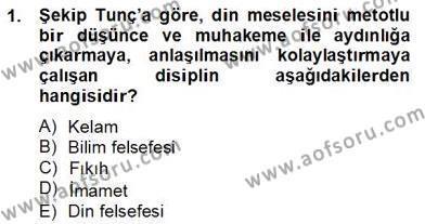 Felsefe Bölümü 8. Yarıyıl Türkiye' de Felsefenin Gelişimi II Dersi 2013 Yılı Bahar Dönemi Dönem Sonu Sınavı 1. Soru