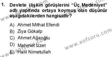 Felsefe Bölümü 8. Yarıyıl Türkiye' de Felsefenin Gelişimi II Dersi 2014 Yılı Bahar Dönemi Dönem Sonu Sınavı 1. Soru
