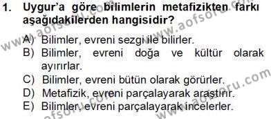 Felsefe Bölümü 8. Yarıyıl Türkiye' de Felsefenin Gelişimi II Dersi 2014 Yılı Bahar Dönemi Tek Ders Sınavı 1. Soru