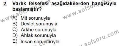 Felsefe Bölümü 8. Yarıyıl Türkiye' de Felsefenin Gelişimi II Dersi 2015 Yılı Bahar Dönemi Ara Sınavı 2. Soru