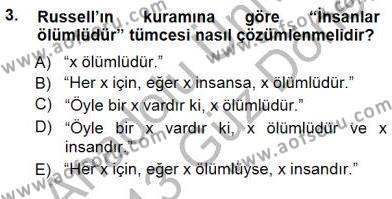 Dil Felsefesi Dersi 2012 - 2013 Yılı Dönem Sonu Sınavı 3. Soru