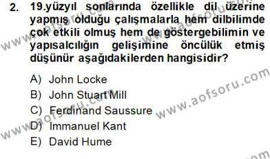 Dil Felsefesi Dersi 2013 - 2014 Yılı (Final) Dönem Sonu Sınav Soruları 2. Soru