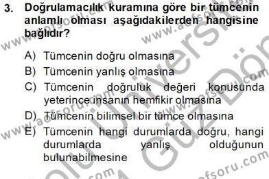 Dil Felsefesi Dersi 2013 - 2014 Yılı (Final) Dönem Sonu Sınav Soruları 3. Soru