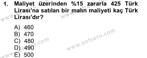 Emlak ve Emlak Yönetimi Bölümü 2. Yarıyıl Finans Matematiği Dersi 2013 Yılı Bahar Dönemi Dönem Sonu Sınavı 1. Soru
