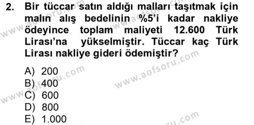 Finans Matematiği Dersi 2012 - 2013 Yılı Dönem Sonu Sınavı 2. Soru