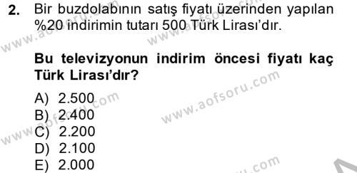 Finans Matematiği Dersi 2013 - 2014 Yılı Dönem Sonu Sınavı 2. Soru
