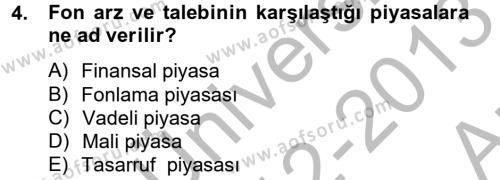 Finansal Kurumlar Dersi 2012 - 2013 Yılı (Vize) Ara Sınav Soruları 4. Soru