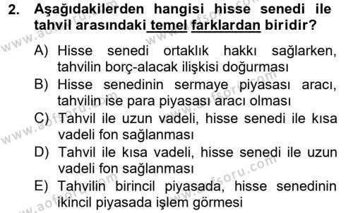 Finansal Kurumlar Dersi 2013 - 2014 Yılı Tek Ders Sınavı 2. Soru