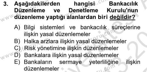 Finansal Kurumlar Dersi 2013 - 2014 Yılı Tek Ders Sınavı 3. Soru