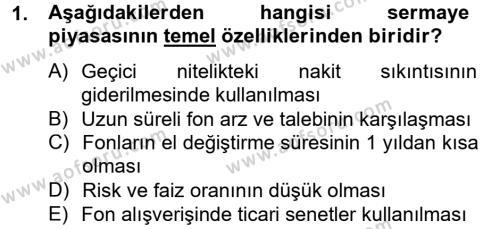 Finansal Kurumlar Dersi 2014 - 2015 Yılı (Vize) Ara Sınavı 1. Soru