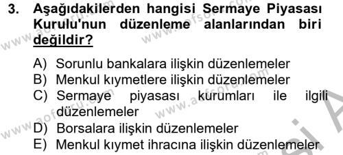 Finansal Kurumlar Dersi 2014 - 2015 Yılı (Final) Dönem Sonu Sınav Soruları 3. Soru