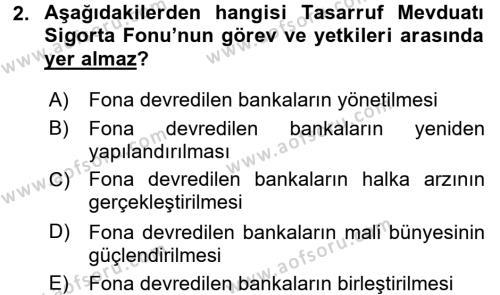 Finansal Kurumlar Dersi 2015 - 2016 Yılı (Vize) Ara Sınavı 2. Soru