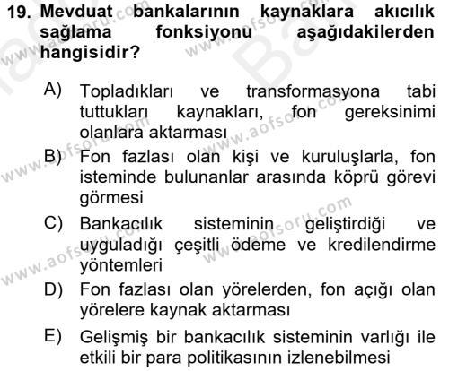 Finansal Kurumlar Dersi Ara Sınavı Deneme Sınav Soruları 19. Soru